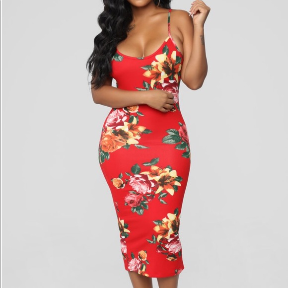 7576da0218 Fashion Nova Dresses | Midi Dress In Red Floral Medium | Poshmark